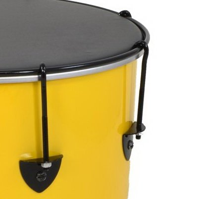Close-up showing samba adjuster accessory for Izzo Nesting Surdos in position on a surdo