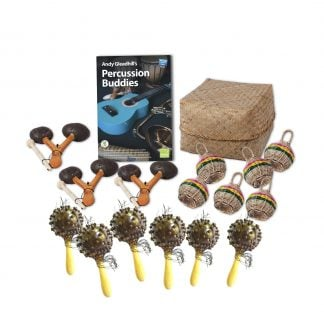 This is a product image of the African Drumming - Percussion Buddies - 15 Pack. The products included in the pack are laid out and include the following; Back Row - Andy Gleadhill's Percussion Buddies Book, Storage Basket. Middle row - Three Agogo - natural, six Caxixi Basket Shakers. Front row - Six Seseh - Coconut Shakers.