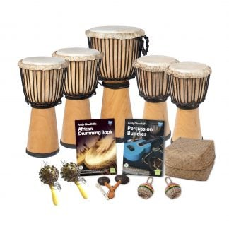 This is a product image of the African Drumming - Primary - 10 Player Class Pack - Buddies. The products in the pack are laid out and include the following; Back Row  (left to right) - Two Djembe Drum - Standard - 9in diameter, 50cm high, natural, one Djembe Drum - Standard - 10.5in diameter, 60cm high, natural and two Djembe Drum - Standard - 8in diameter, 40cm high, natural. Front Row - Two Seseh - Coconut Shakers, Andy Gleadhill's African Drumming Book 1, One Agogo - natural