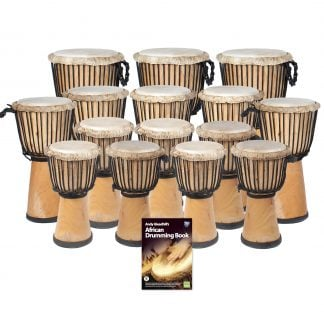 This is a product image of the African Drumming - Primary - 15 Djembe Drum Pack. The products in the pack are laid out and include the following; Back Row  - Three Djembe Drum - Standard - 10.5in diameter, 60cm high, natural. Middle Row - Five Djembe Drum - Standard - 9in diameter, 50cm high, natural. Front Row and Lower Middle Row - Djembe Drum - Standard - 8in diameter, 40cm high, natural, Andy Gleadhill's African Drumming Book 1.