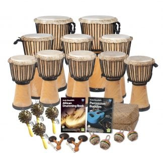 This is a product image of the African Drumming - Primary - 20 Player Class Pack - Buddies. The products in the pack are laid out and include the following; Back Row - Two Djembe Drum - Standard - 10.5in diameter, 60cm high, natural. Second Row -  three Djembe Drum - Standard - 9in diameter, 50cm high, natural. Third Row - five Djembe Drum - Standard - 8in diameter, 40cm high, natural. Fourth Row - Four Seseh - Coconut Shakers, Andy Gleadhill's African Drumming Book 1, Ady Gleadhill's Percussion Buddies Book, Storage Basket. Front Row - Two Agogo - natural, four Caxixi Basket Shakers.