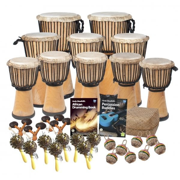 This is a product image of the African Drumming - Primary - 30 Player Class Pack - Budget Buddies. The products in the pack are laid out and include the following; Back Row - Djembe Drum - Standard - 10.5in diameter, 60cm high, natural. Second Row - Three Djembe Drum - Standard - 9in diameter, 50cm high, natural. Third Row - Five Djembe Drum - Standard - 8in diameter, 40cm high, natural. Fourth Row - Four Agogo - natural, Andy Gleadhill's African Drumming Book 1, Andy Gleadhill's Percussion Buddies Book, Storage Basket. Front Row - Eight Seseh - Coconut Shakers, eight Caxixi Basket Shakers.