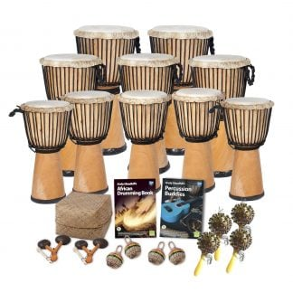 This is a product image of the African Drumming - Secondary - 20 Player Class Pack - Buddies. The products in the pack are laid out and include the following; Back Row - Two Djembe Drum - Standard - 12in diameter, 65cm high, natural. Second Row - Three Djembe Drum - Standard - 10.5in diameter, 60cm high, natural. Third Row - Five Djembe Drum - Standard - 9in diameter, 50cm high, natural. Fourth Row - Storage Basket, Andy Gleadhill's African Drumming Book 1, Andy Gleadhill's Percussion Buddies Book. Front Row - Two Agogo - natural, four Caxixi Basket Shakers, four Seseh - Coconut Shakers.