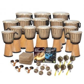 This is a product image of the African Drumming - Secondary - 30 Player Class Pack - Buddies. The products in the pack are laid out and include the following; Back Row - Three Djembe Drum - Standard - 12in diameter, 65cm high, natural. Second Row - Five Djembe Drum - Standard - 10.5in diameter, 60cm high, natural. Third Row - Seven Djembe Drum - Standard - 9in diameter, 50cm high, natural. Fourth Row - Storage Basket, Andy Gleadhill's African Drumming Book 1, Andy Gleadhill's Percussion Buddies Book. Front Row - Three Agogo - natural, five Caxixi Basket Shakers, six Seseh - Coconut Shakers.