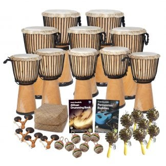 This is a product image of the African Drumming - Secondary - 30 Player Class Pack - Budget Buddies. The products in the pack are laid out and include the following; Back Row - Two Djembe Drum - Standard - 12in diameter, 65cm high, natural. Second Row - Three Djembe Drum - Standard - 10.5in diameter, 60cm high, natural. Third Row - Five Djembe Drum - Standard - 9in diameter, 50cm high, natural. Fourth Row - Storage Basket, Andy Gleadhill's African drumming Book 1, Andy Gleadhill's Percussion Buddies Book. Front Row - Four Agogo - natural, eight Caxixi Basket Shakers, eight Seseh - Coconut Shakers.