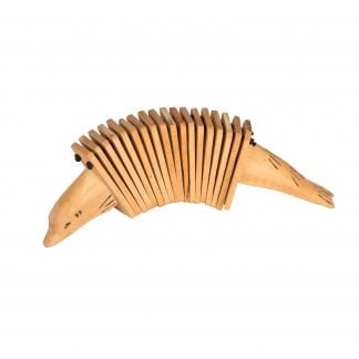 This is a product image of the Animal Clacker - Early Years. It is made of light wood with lots of internal sections. The two handles are the head and tail of an animal.