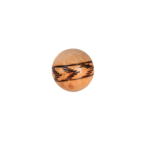 This is a product image of the Ball Shaker - 5cm, Early Years. It is a sealed wooden ball which has a burnt arrow strip design around it.
