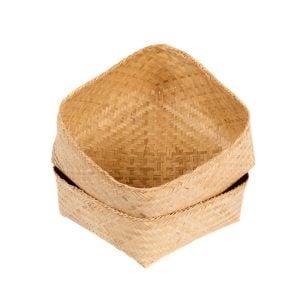 Basket - Medium - 26cm, bamboo, with opened lid.