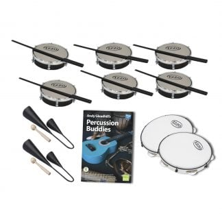 This is a product image of the Brazilian Samba - Percussion Buddies - 10 Pack. The products in the pack are laid out and include the following; Back Two Rows -  Six Tamborim - 6in diameter, Izzo, with beaters lying on them. Bottom Two Rows - Two Agogo Bells - Medium, Andy Gleadhill's Percussion Buddies Book, two Pandeiro - 10in diameter, Izzo.
