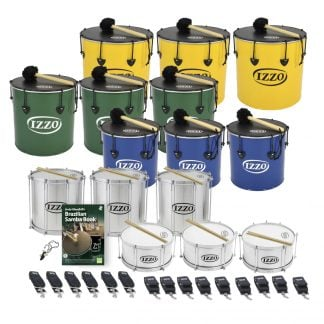 This is a product image of the Brazilian Samba - Primary - 15 Big Drums Packs. The products are laid out and include the following; Back Row - Three Nesting Surdo - 18in diameter, aluminium, Izzo (Yellow). Second Row - Three Nesting Surdo - 16in diameter, aluminium, Izzo (Green). Third Row - Three Nesting Surdo - 14in diameter, aluminium, Izzo (Blue). Fourth Row - Three Repinique - 12in diameter, aluminium, Izzo (Silver). Fifth Row - One Tritone Samba Whistle (Apito), Andy Gleadhill's Brazilian Samba Book, three Caixa - 12in diameter, aluminium, Izzo (Silver). Bottom Row - Six straps for the Repiniques and Caixas, nine straps for the Surdos.  All of the drums have a suitable beater or stick lying on top of their skin.