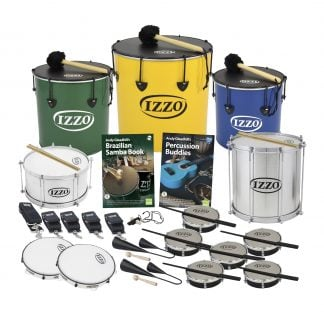 This is a product image of the Brazilian Samba - Primary - 15 Player Class Pack - Budget Buddies. The products are laid out and include the following; Back Row - One Nesting Surdo - 14in diameter, aluminium, Izzo (Green), one Nesting Surdo - 16in diameter, aluminium, Izzo (Yellow), one Nesting Surdo - 12in diameter, aluminium, Izzo (Blue). Second Row - One Caixa - 12in diameter, aluminium, Izzo (Silver), Andy Gleadhill's Brazilian Samba Book, Andy Gleadhill's Percussion Buddies, Repinique - 12in diameter, aluminium, Izzo (Silver). Third Row - Two straps for the Repinique and Caixa, three straps for the Surdos, one Tritone Samba Whistle (Apito). Bottom Row - Two Pandeiro - 10in diameter, Izzo, Two Agogo Bells - Medium, Six Tamborim - Izzo. All of the drums have a suitable beater or stick lying on top of their skin.