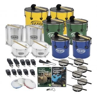 This is a product image of the Brazilian Samba - Primary - 20 Player Class Pack - Buddies. The products are laid out and include the following; Back Row - Two Nesting Surdo - 16in diameter, aluminium, Izzo (Yellow). Second Row - Repinique - 12in diameter, aluminium, Izzo (Silver), two Nesting Surdo - 14in diameter, aluminium, Izzo (Green). Third Row - Two Caixa - 12in diameter, aluminium, Izzo (Silver), two Nesting Surdo - 12in diameter, aluminium, Izzo (Blue). Fourth Row - Four straps for the Repiniques and Caixas, six straps for the Surdos, one Agogo Bells - Medium. Bottom Row - Three Pandeiro - 10in diameter, Izzo, Andy Gleadhill's Brazilian Samba Book, Andy Gleadhill's Percussion Buddies Book, one Tritone Samba Whistle (Apito), six Tamborim - Izzo. All of the drums have a suitable beater or stick lying on top of their skin.