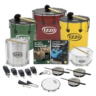 This is a product image of the Brazilian Samba - Secondary - 10 Player Class Pack - Buddies. The products are laid out and include the following; Back Row - One Nesting Surdo - 16in diameter, aluminium, Izzo (Green), one Nesting Surdo - 18in diameter, aluminium, Izzo (Red), one Nesting Surdo - 14in diameter, aluminium, Izzo (Yellow). Second Row - One Repinique - 12in diameter, aluminium, Izzo (Silver), Andy Gleadhill's Brazilian Samba Book, Andy Gleadhill's Percussion Buddies Book, one Caixa - 12in diameter, aluminium, Izzo (Silver). Third Row - Two straps for the Repinique and Caixa, three straps for the Surdos, one Tritone Samba Whistle (Apito), three Tamborim - Izzo. Bottom Row - One Agogo Bells - Medium, one Pandeiro - 10in diameter, Izzo. All of the drums have a suitable beater or stick lying on top of their skin.