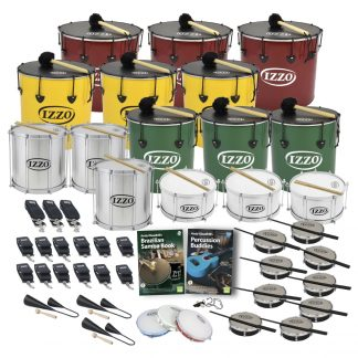 This is a product image of the Brazilian Samba - Secondary - 30 Player Class Pack - Buddies. The products are laid out and include the following; Back Row - Three Nesting Surdo - 18in diameter, aluminium, Izzo (Red). Second Row - Three Nesting Surdo - 16in diameter, aluminium, Izzo (Yellow). Third Row - Three Repinique - 12in diameter, aluminium, Izzo (Silver), three Nesting Surdo - 14in diameter, aluminium, Izzo (Green). Fourth Row - Three Caixa - 12in diameter, aluminium, Izzo (Silver). Fifth Row - Three straps for the Caixas, twelve straps for the Repiniques and Surdos, Andy Gleadhill's Brazilian Samba Book, Andy Gleadhill's Percussion Buddies Book, nine Tamborim - Izzo. Bottom Row - Three Agogo Bells - Medium, three Pandeiro - 10in diameter, Izzo, one Tritone Samba Whistle (Apito). All of the drums have a suitable beater or stick lying on top of their skin.