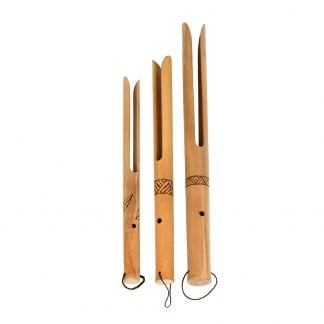 This is a product image of Buzzers - Set of 3, bamboo. Each one is made of a single piece of bamboo. A hole is visible in the neck before it splits into two fingers of wood at the end. There is a line pattern burned in halfway down each neck. The instruments are facing straight upwards and are sized smallest to largest from left to right.