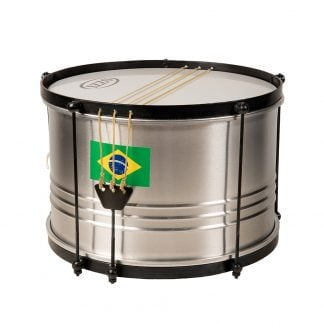 This is a product image of the Caixa - Economy - 12in diameter, Izzo. It is silver with black trimmings and three taut snares across the top skin.