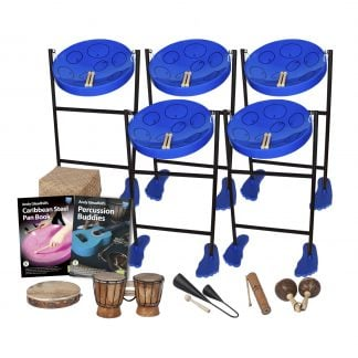 This is a product image of the Caribbean Steel Pan - 10 Player Jumbie Class Pack - Buddies. The products are laid out and include the following; Back Row - Five Jumbie Jam Steel Pan - Floor Standing (Blue). Middle Row - Storage Basket, Andy Gleadhill's Caribbean Steel Pan Book, Andy Gleadhill's Percussion Buddies Book. Front Row - One Tambourine, one Bongos (African Bongos), one Agogo Bells - Medium, one Guiro - Small - bamboo, one Maraca - Coconut, pair. The Steel Pans each have a pair of beaters resting on them.