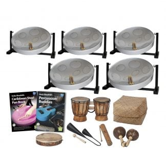 This is a product image of the Caribbean Steel Pan - 10 Player Jumbie Desktop Class Pack - Buddies. The products are laid out and include the following; Back Row - Five Jumbie Jam Steel Pan - Desktop (Grey). Middle Row - Andy Gleadhill's Caribbean Steel Pan Book, Andy Gleadhill's Percussion Buddies Book, one Bongos (African Bongos), Storage Basket. Front Row - One Tambourine, one Agogo Bells - Medium, one Guiro - Small - bamboo, one Maraca - Coconut, pair. The Steel Pans each have a pair of beaters resting on them.