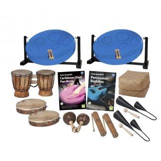 This is a product image of the Caribbean Steel Pan - 10 Player Jumbie Desktop Starter Pack. The products are laid out and include the following; Back Row - Two Jumbie Jam Steel Pan - Desktop (Blue). Second Row - One Bongos (African Bongos), Andy Gleadhill's Caribbean Steel Pan Book, Andy Gleadhill's Percussion Buddies Book, Storage Basket. Third Row - Two Tambourine, one Maraca - Coconut, pair, two Guiro - Small - bamboo, two Agogo Bells - Medium. The Steel Pans each have a pair of beaters resting on them.