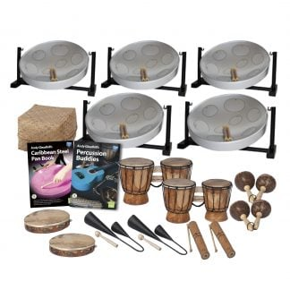 This is a product image of the Caribbean Steel Pan - 15 Player Jumbie Desktop Class Pack - Budget Buddies. The products are laid out and include the following; Back Row - Five Jumbie Jam Steel Pan - Desktop (Grey), Storage Basket. Second Row - Andy Gleadhill's Caribbean Steel Pan Book, Andy Gleadhill's Percussion Buddies Book, two Bongos (African Bongos), two Maraca - Coconut, pair. Bottom Row - Two Tambourine, two Agogo Bells - Medium, two Guiro - Small - bamboo. The Steel Pans each have a pair of beaters resting on them.