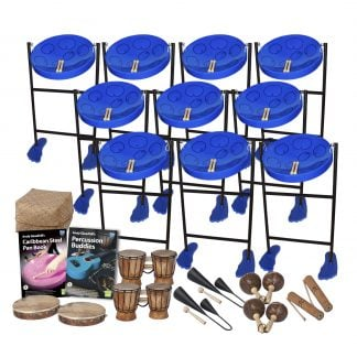 This is a product image of the Caribbean Steel Pan - 20 Player Jumbie Class Pack - Buddies. The products are laid out and include the following; Back Row - Ten Jumbie Jam Steel Pan - Floor Standing (Blue), Storage Basket. Second Row - Andy Gleadhill's Caribbean Steel Pan Book, Andy Gleadhill's Percussion Buddies Book. Bottom Row - Two Tambourine, two Bongos (African Bongos), two Agogo Bells - Medium, two Maraca - Coconut, pair, two Guiro - Medium - bamboo. The Steel Pans each have a pair of beaters resting on them.