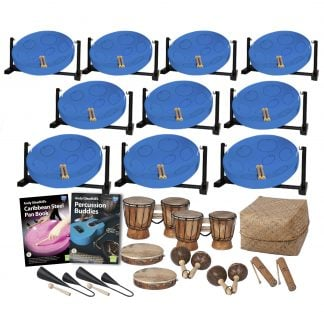 This is a product image of the Caribbean Steel Pan - 20 Player Jumbie Desktop Class Pack - Buddies. The products are laid out and include the following; Back Row - Ten Jumbie Jam Steel Pan - Desktop (Blue). Second Row - Andy Gleadhill's Carbibbean Steel Pan Book, Andy Gleadhill's Percussion Buddies Book, two Bongos (African Bongos), Storage Basket. Bottom Row - Two Agogo Bells - Medium, two Tambourine, two Maraca - Coconut, pair, two Guiro - Small - bamboo. The Steel Pans each have a pair of beaters resting on them.