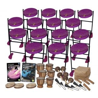 This is a product image of the Caribbean Steel Pan - 30 Player Jumbie Class Pack - Buddies. The products are laid out and include the following; Back Four Rows - Fifteen Jumbie Jam Steel Pan - Floor Standing (Purple). Fifth Row - Andy Gleadhill's Caribbean Steel Pan Book, Andy Gleadhill's Percussion Buddies Book, three Bongos (African Bongos), three Maraca - Coconut, pair, Storage Basket. Front Row - Three Tambourine, three Agogo Bells - Medium, four Guiro - Small - bamboo. The Steel Pans each have a pair of beaters resting on them.