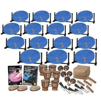 This is a product image of the Caribbean Steel Pan - 30 Player Jumbie Desktop Class Pack - Buddies. The products are laid out and include the following; Back Four Rows - fifteen Jumbie Jam Steel Pan - Desktop (Blue). Fifth Row - Andy Gleadhill's Caribbean Steel Pan Book, Andy Gleadhill's Percussion Buddies Book, three Bongos (African Bongos), three Maraca - Coconut, pair, Storage Basket. Bottom Row - Three Tambourine, three Agogo Bells - Medium, four Guiro - Small - bamboo. The Steel Pans each have a pair of beaters resting on them.