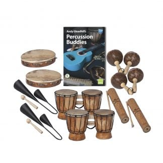 This is a product image of the Caribbean Steel Pan - Percussion Buddies - 10 Pack. The products are laid out and include the following; Top  Row - Two Tambourine, Andy Gleadhill's Percussion Buddies Book, two Maraca - Coconut, pair. Bottom Row - Two Agogo Bells - Medium, two Bongos (African Bongos), two Guiro - Small - bamboo.