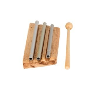 This is a product image of the Chime Bar - 3 notes, stainless. It has a trapezoid wooden body with three chime bars attached. The beater is lying to the right and the instrument is angled straight upwards.