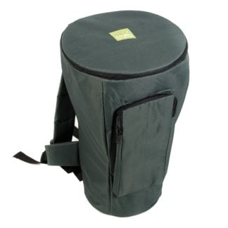 This is a product image of the Djembe Drum Bag - Premium - 10in diameter, 50cm high, with straps. It is sturdy and green in colour. The top section is zipped closed and there is a pocket on the side.