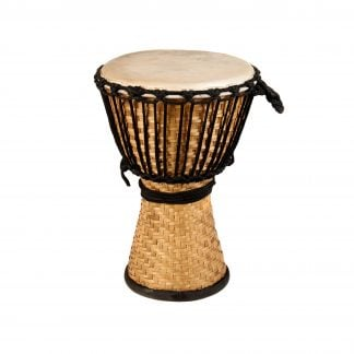 This is a product image of the Djembe Drum - Bamboo - 10in diameter, 40cm high from the side.