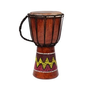 This is a product image of the Djembe Drum - Budget - 6in diameter, 30cm high, painted from the side.