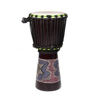 This is a product image of the Djembe Drum - Budget - 8in diameter, 50cm high, painted from the side.