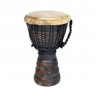 This is a product image of the Djembe Drum - Standard - 7in diameter, 30cm high, deep carved from the side.