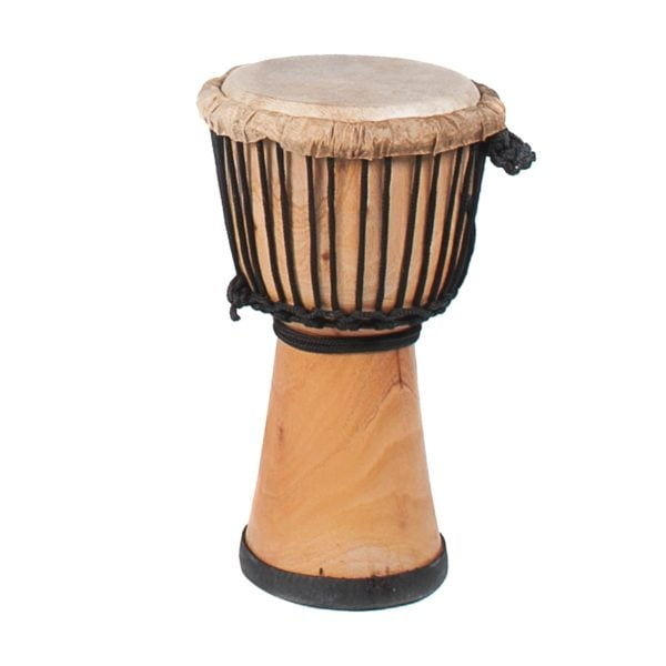 This is a product image of the Djembe Drum - Standard - 8in diameter, 40cm high, natural from the side.