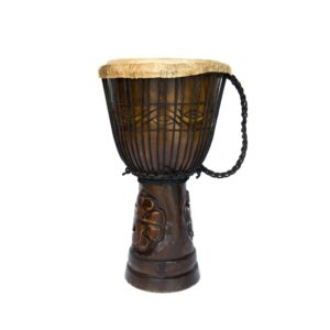 This is a product image of the Djembe Drum - Standard - 9in diameter, 50cm high, deep carved from the side.