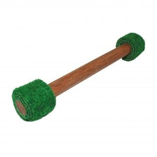 This is a product image of the Dream Drum Beater - double felt. It is a dark wooden handle with two ends that are both wrapped in green felt. The beater is angled from bottom left to top right.
