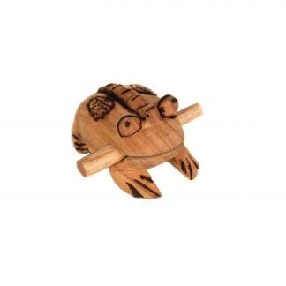 This is a product image of the Frog Scraper - Large - Early Years. It is a carved frog with a ridged back and has patterns and detail burned into the body. The stick is being held in the frog's mouth. The frog is angled to the right.