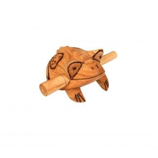 This is a product image of the Frog Scraper - Medium - Early Years. It is a carved frog with a ridged back and has patterns and detail burned into the body. The stick is held in the frog's mouth. The frog is angled slightly to the right.