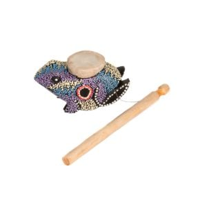 This is a product image of the Frog Twirler - painted. A wooden stick is attached to a wire that connects to a frog that has been painted with lots of colored dots, predominately purple. The frog is laid out above the stick.