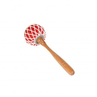 This is a product image of the Gong Beater (Pangul) for 60cm Gong. It has a wooden handle with a large, soft, red head that is tied in place with string work. The beater is laid flat and facing up and to the right.