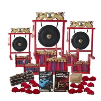 This is a product image of the Indonesian Gamelan - Budget - 20 Player Class Pack - Buddies. The products are laid out and include the following; Back Row - One Gong Set - 12in (30cm) diameter Gong with Stand and Beater, one Gong Set - 20in (50cm) diameter Gong with Stand and Beater, one Gong Set - 16in (40cm) diameter Gong with Stand and Beater. Second and Third Rows - Two Gamelan - Budget - Small 7 key, two Gamelan - Budget - Large 7 key, two Gamelan - Budget - Medium 7 key. Fourth Row - One Balinese Drum - 50cm, Andy Gleadhill's Percussion Buddies Book, Andy Gleadhill's Indonesian Gamelan Book, Storage Basket. Bottom Row - 10 Ceng Ceng - 14cm, pair. Each instrument that requires a beater has one resting on top of them.