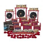This is a product image of the Indonesian Gamelan - Budget - 30 Player Class Pack - Buddies. The products are laid out and include the following; Back Row - One Gong Set - 12in (30cm) diameter Gong with Stand and Beater, one Gong Set - 20in (50cm) diameter Gong with Stand and Beater, one Gong Set - 16in (40cm) diameter Gong with Stand and Beater. Second, Third and Fourth Row, Left Hand Side - One Balinese Drum - 50cm, Andy Gleadhill's Percussion Buddies Book, Andy Gleadhill's Indonesian Gamelan Book. Second, Third and Fourth Row, Right Hand Side - Three Gamelan - Budget - Small 7 key, three Gamelan - Budget - Large 7 key, three Gamelan - Budget - Medium 7 key. Fifth Row - One Bonang - 4 Pan - Standard - low pitch. Bottom Row - Fifteen Ceng Ceng - 14cm, pair. Each instrument that requires a beater has one resting on top of them.
