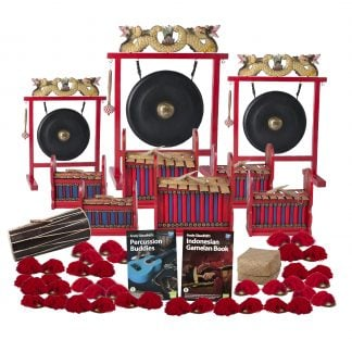 This is a product image of the Indonesian Gamelan - Budget - 30 Player Class Pack - Budget Buddies. The products are laid out and include the following; Back Row - One Gong Set - 12in (30cm) diameter Gong with Stand and Beater, one Gong Set - 20in (50cm) diameter Gong with Stand and Beater, one Gong Set - 16in (40cm) diameter Gong with Stand and Beater. Second and Third Row - Two Gamelan - Budget - Small 7 key, two Gamelan - Budget - Large 7 key, two Gamelan - Budget - Medium 7 key. Fourth Row - One Balinese Drum - 50cm, Andy Gleadhill's Percussion Buddies Book, Andy Gleadhill's Indonesian Drumming Book, Storage Basket. Bottom Row - Twenty Ceng Ceng - 14cm, pair. Each instrument that requires a beater has one resting on top of them.