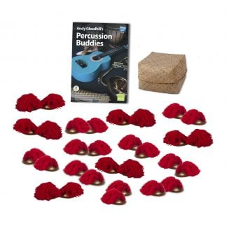 This is a product image of the Indonesian Gamelan - Percussion Buddies - 15 Pack. The products are laid out and include the following; Andy Gleadhill's Percussion Buddies Book, Storage Basket, fifteen Ceng Ceng - 14cm, pair.