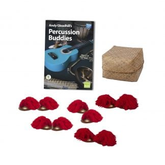 This is a product image of the Indonesian Gamelan - Percussion Buddies - 5 Pack. The products are laid out and include the following; Andy Gleadhill's Percussion Buddies Book, Storage Basket, five Ceng Ceng - 14cm, pair.