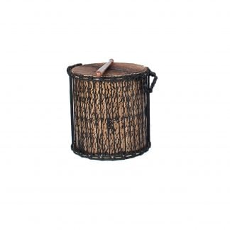 This is a product image of a Kenkeni - 14in diameter, 40cm high, bamboo from the side. It has a beater resting upon it.