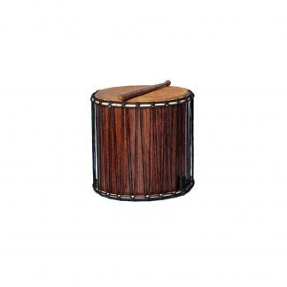 This is a product image of a Kenkeni - 14in diameter, 40cm high, recycled wood from the side. It has a beater resting upon it.
