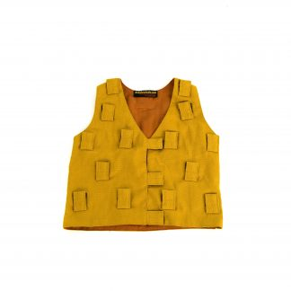 This is a product image of the Music Tunic - Small. It is laid out flat and is yellow in colour. There are lots of Velcro tab sections to attach various shakers.